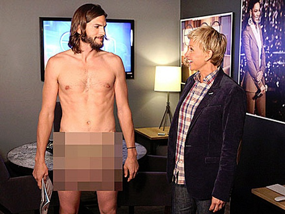 Asthon Kutcher naked at Ellen's show